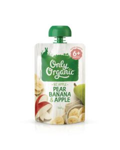 Only Organic Stage 2 Pouches - Pear, Banana & Apple (120g)