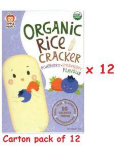 (Carton Pack of 12) Apple Monkey Organic Rice Cracker